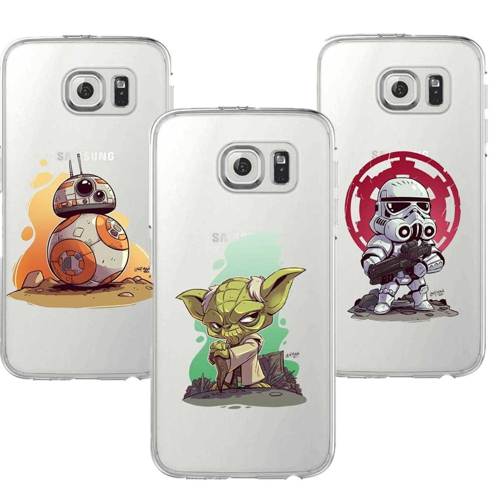 Cartoon Star Wars De Force Wekt Bb-8 Zachte Tpu Telefoon Case Cover Samsung Galaxy S5 S6 S7 Edge S8 Plus