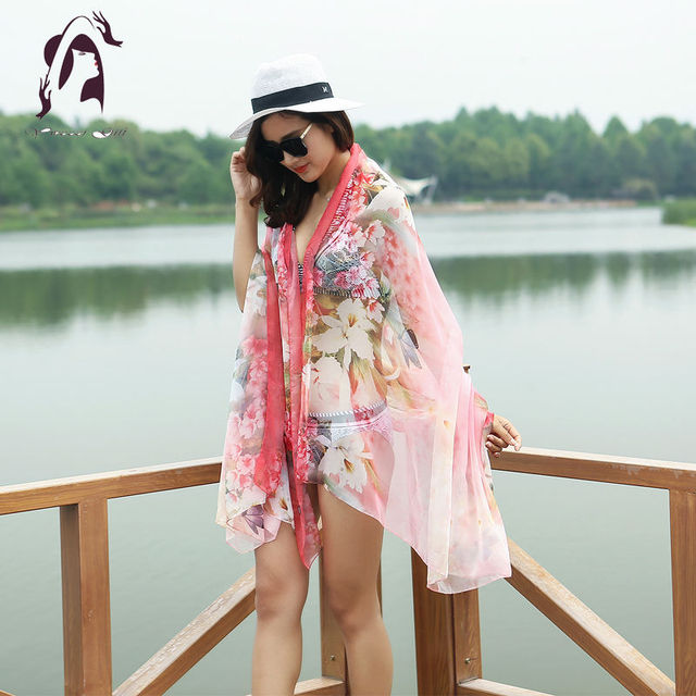 [YWJUNFU] Summer Women Silk Scarve Soft Print Floral Scarf Chiffon Long Shawls 150*200cm Beach Scarves Autumn Wraps Ladies