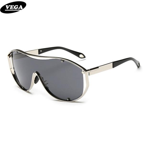 VEGA Oversize óculos de Sol Das Mulheres Dos Homens Designer de Marca de Alta Qualidade Óculos de Festa Com Bolsa Armação de Metal Lente Super Grande Angular 18047