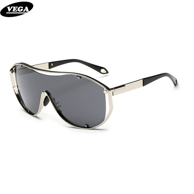 VEGA Oversize Gafas de Sol Hombres Mujeres Diseñador de la Marca de Alta Calidad Gafas De Partido Con Bolsa de Marco de Metal Súper Lente Gran 18047