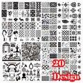 20 pc/lot Uno Cada Serie de Moda de Acero de Uñas Sello Estampado de Imagen Konad Impresión de la Placa Del Clavo de DIY Arte de la Imagen de Plantilla JQ-L serie