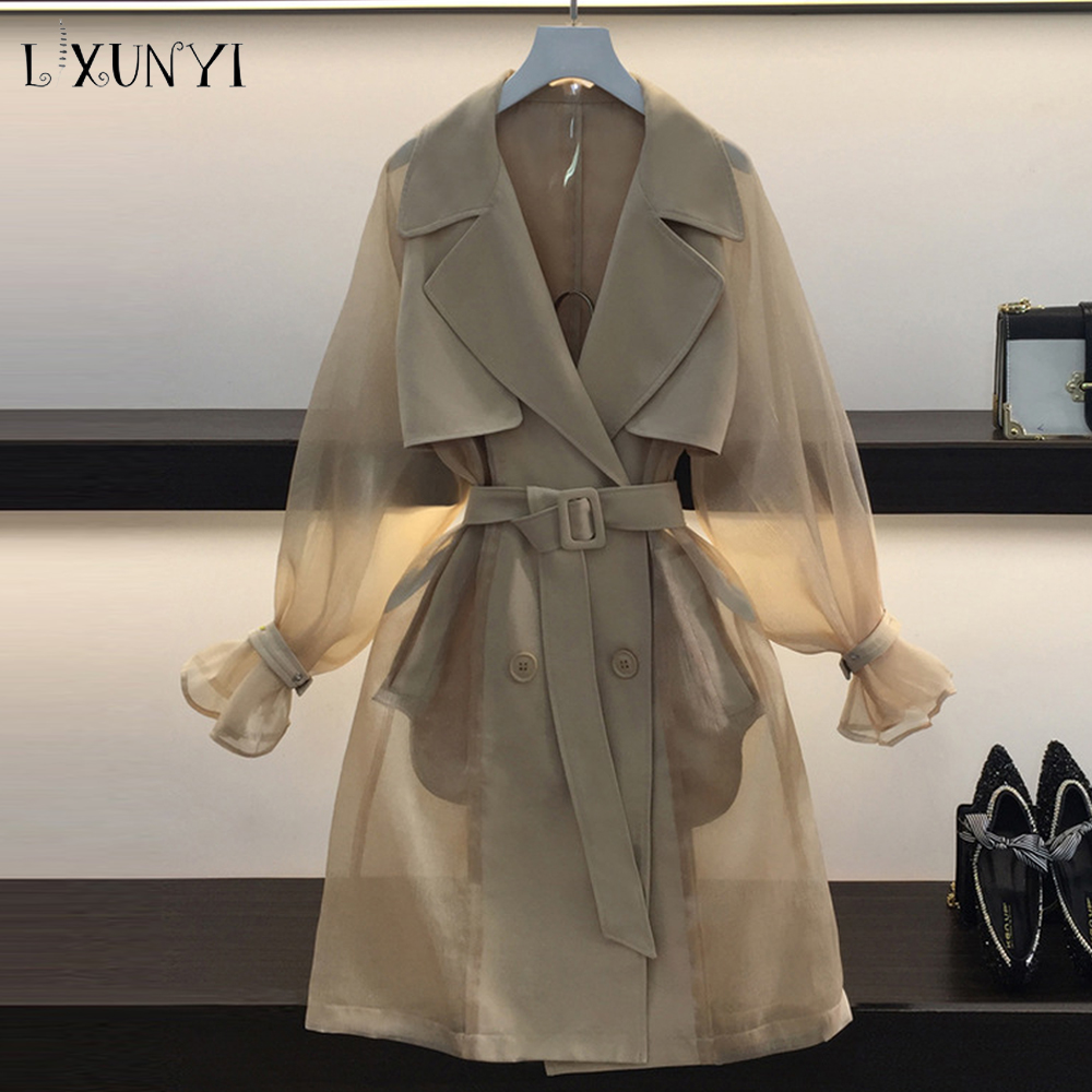 LXUNYI 2019 New Spring Autumn Perspective Mesh   Trench   Coat For Women Belt Turn Down Collar Slim Overcoat Medieval   Trench   Female