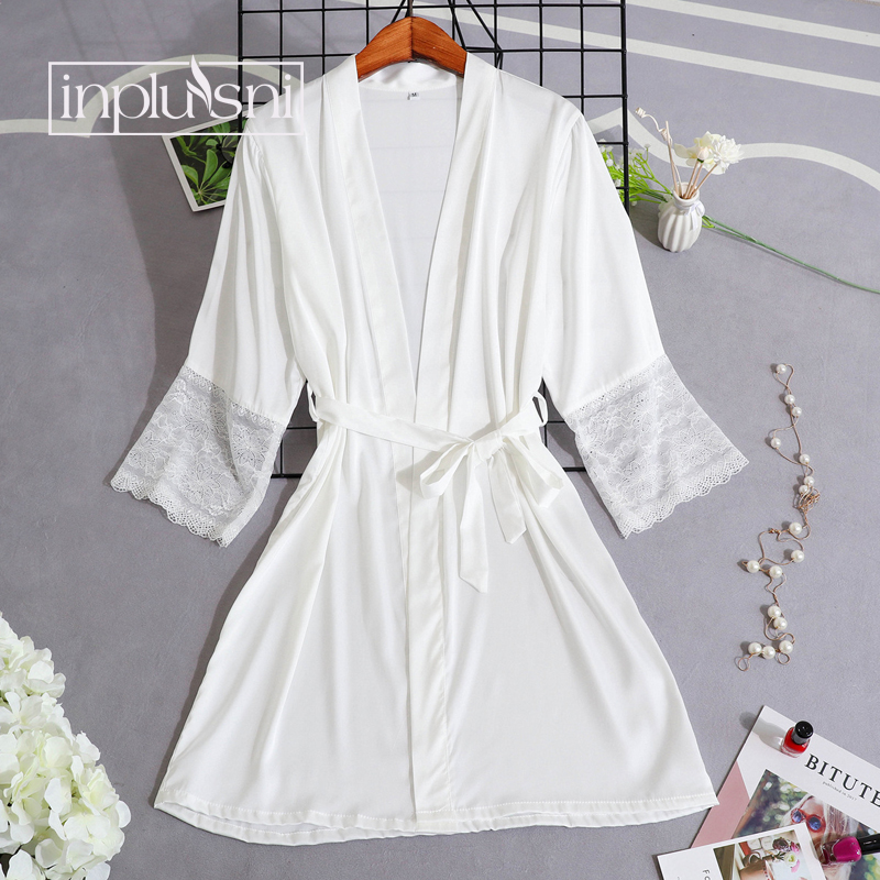 Inplusni women robes high grade comfortable faux silk pyjama pure color deep V sexy female homewear single women robes pijama|Robes| |  - title=