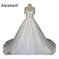 Foto real del hombro Encaje Appliques tulle y satén con mangas bola romántico vestido nupcial baratos Vestidos de novia