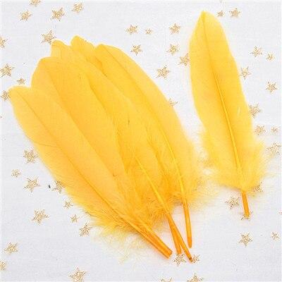 Натуральные лебединые перья 14-20 см, многоцветные гусиные перья, шлейф для рукоделия, свадебных украшений, рукоделия, украшения для дома, 50 шт - Цвет: golden 50pcs
