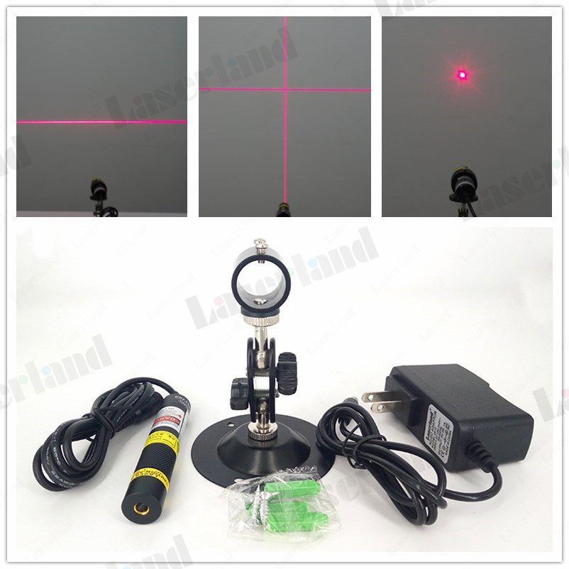 16*68mm 50mW 100mW 200mW Dot Line Cross 648nm 650nm Red Focusable Laser Diode Module Locator Fabric Wood Cutting +adapter +mount