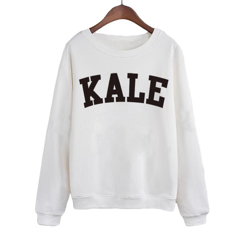 Female Tracksuit Tops KALE Sweatshirt Streetwear Fashion Women Long Sleeve Crewneck Hoodies Black White Pullover