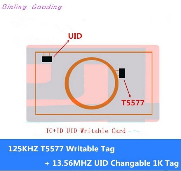 IC+ID UID Writable Composite Card (125KHZ T5577 RFID+13.56MHZ UID Changeable MF S50 1K NFC) 5pcs ic id uid 13 56mhz changeable writable rewritable composite key tags keyfob dual chip frequency rfid 125khz t5577 em4305
