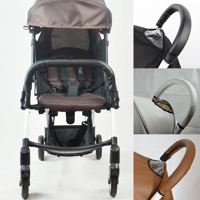 Baby Pram Stroller Handle Bar Accessories Pu Leather Protective Grip Case Cover