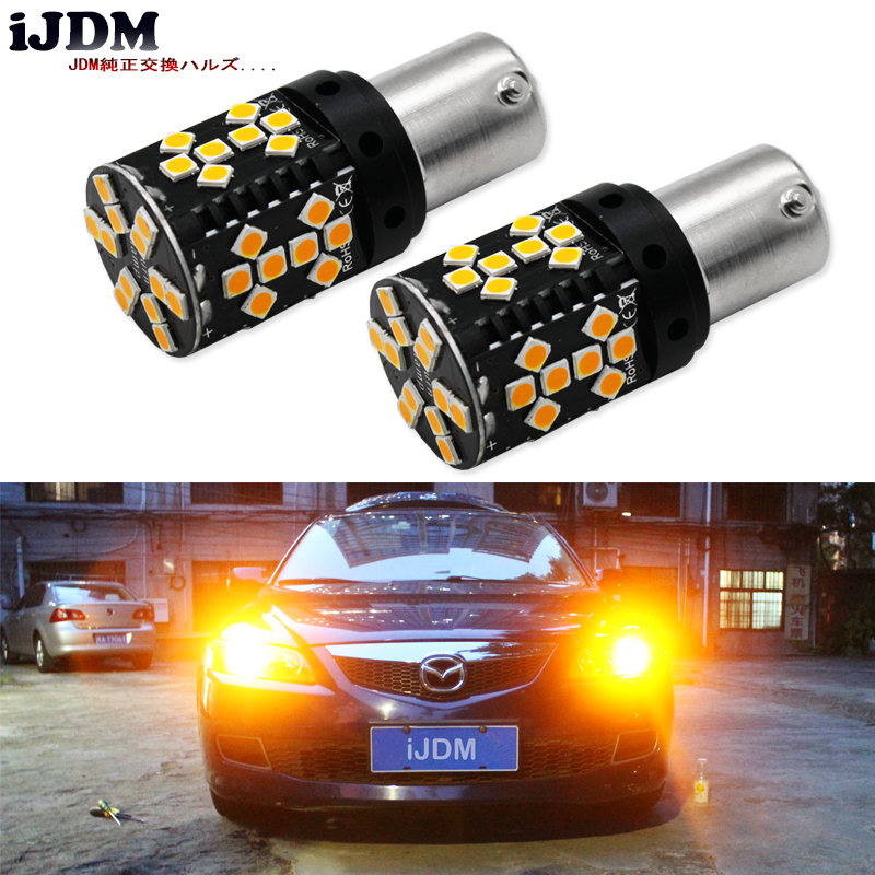 iJDM Canbus Error Free 1156 LED No Hyper Flash 21W Amber yellow P21W BA15S LED Replacement Bulbs For Car Turn Signal Lights,12V