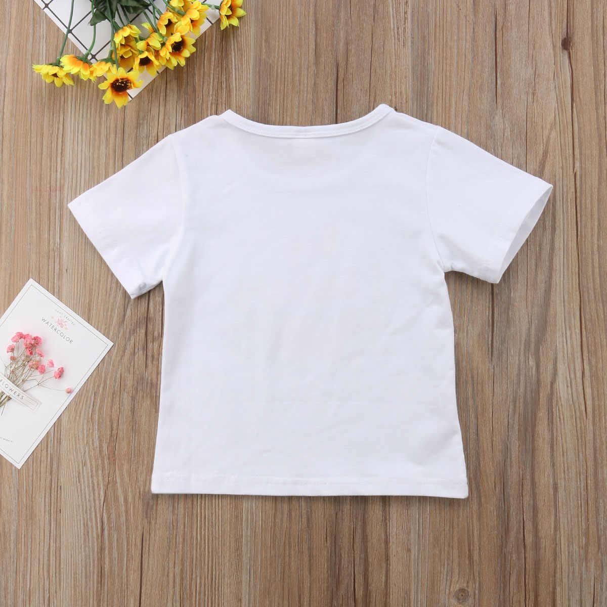 Verano Casual lindo niños bebés niñas a juego Big Little Sister letra flor impresión algodón Romper camiseta ropa