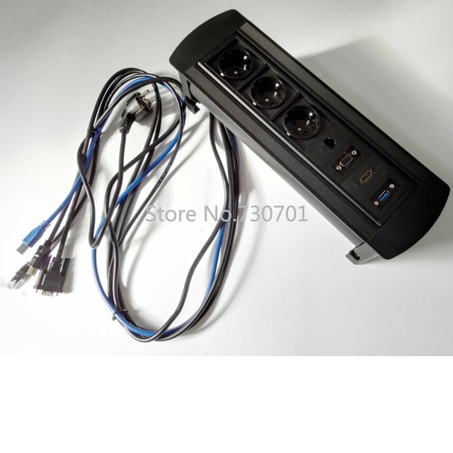 Manual Flipping Rotary Multiple Tabletop Socket Usb 3 0 With Cable Muti Function Electrical Light