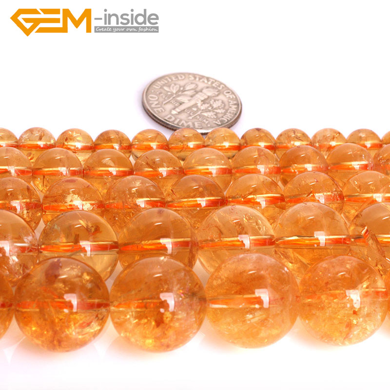 Gem inside 6 14mm AAA Natural Crystal Beads Round Smooth Yellow Citrines Beads For Jewelry Making