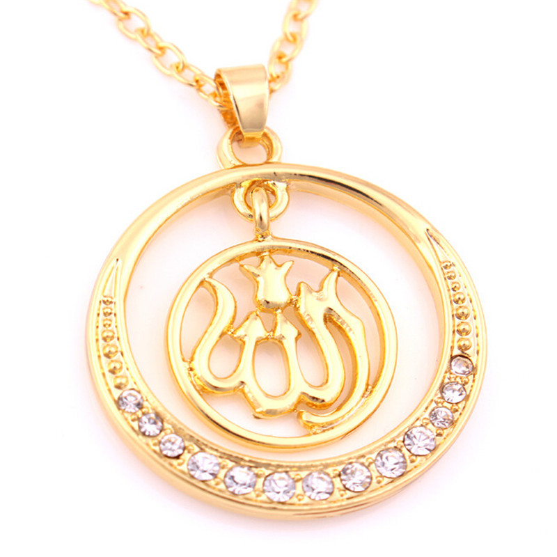 Gold Pendants Necklaces Religious Jewelry Wolf Totem Rhinestone Gold Chains Necklace Fashion Chokers