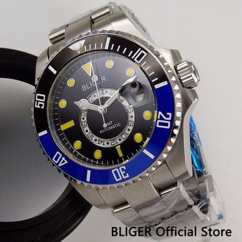 Sapphire Crystal BLIGER 43MM Men's Watch Blue Black Ceramic Bezel Date Indicator GMT Indicator Automatic Movement Wrist Watch