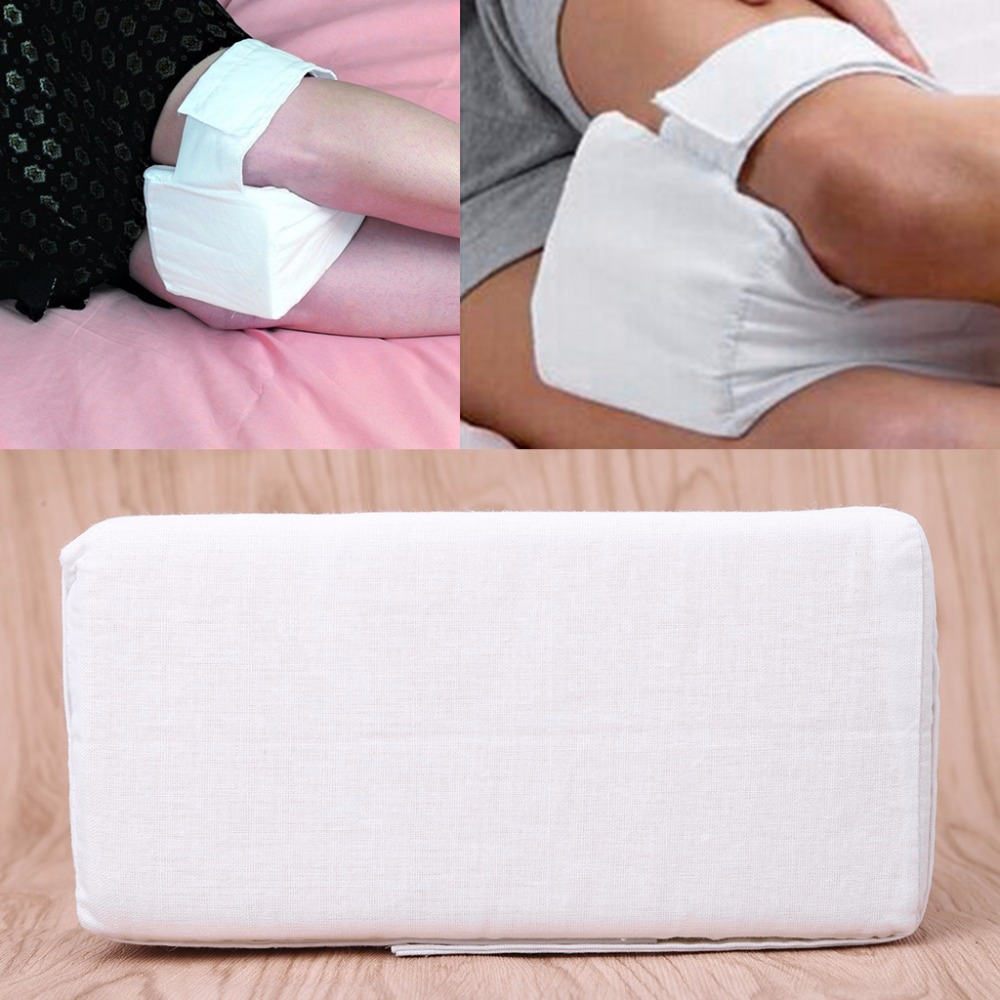 1Pc White Foam Knee Leg Pillow With Adjustable Removable Strap Ear Plug For Sleeping Protect Knee Cushion High Quality C42