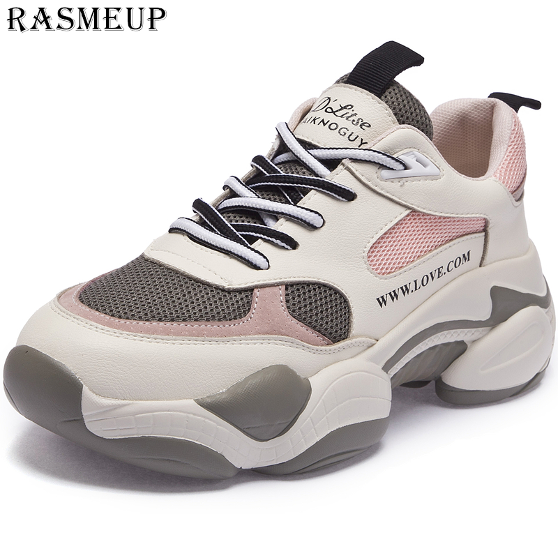 RASMEUP Mesh Women Chunky Sneakers 2019 Fashion Summer Breathable Women Platform Shoes Brand Dad Trainers Woman