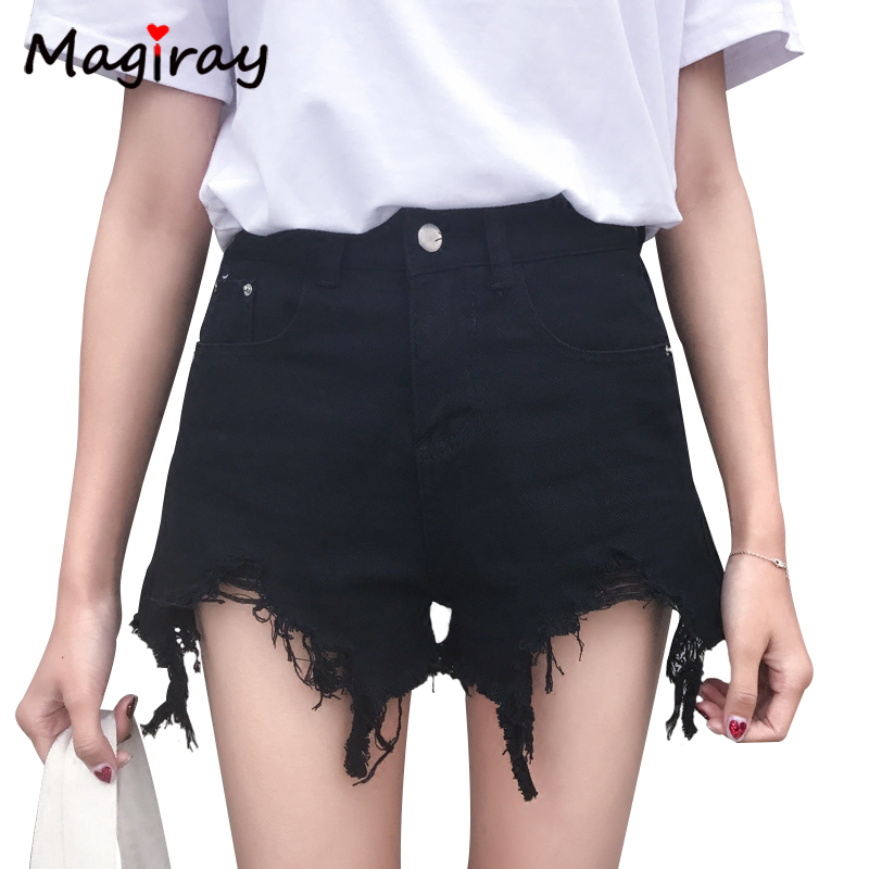 Magiray Vantage Jeans   Shorts   Women High Waist Summer Ripped Black White Booty Hot   Shorts   Hole Denim Sexy Girl Casual Vagen C165