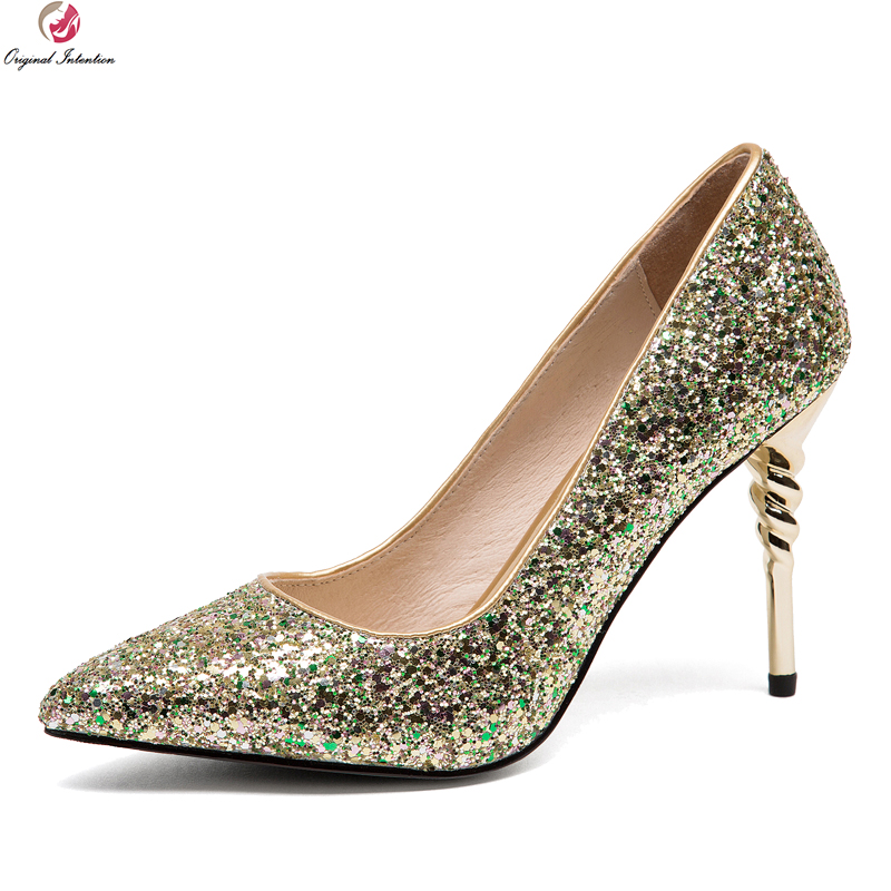 Original Intention New Sexy Women Pumps Glitter Pointed Toe Metal Thin Heels Pumps Gold Silver Purple Shoes Woman US Size 4-8.5 gold sliver shoes woman for 2016 new spring glitter bling pointed toe flats women shoes for summer size plus 35 40 xwd1841