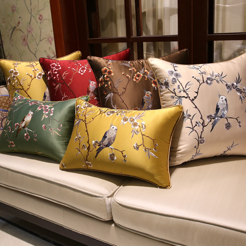 High End Designer Throw Pillows Part - 42: Luxury Charm Embroidery Cushion Cover Flower Birds Bloom Design Capa De  Dlmofada Sofa Car Bedding Decorative Throw Pillow Case
