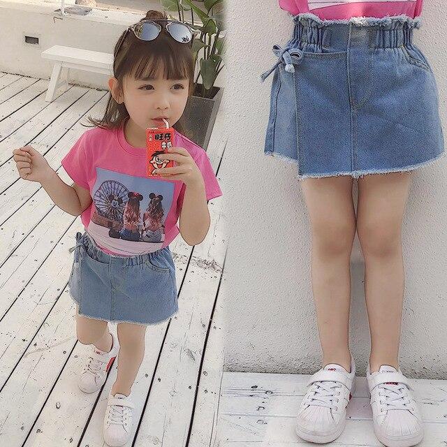 Shorts en Denim pour petites filles, jupes dété, faux deux pièces à nœud, pantalon court pour enfants de 3 à 7 ans, mode nouveauté