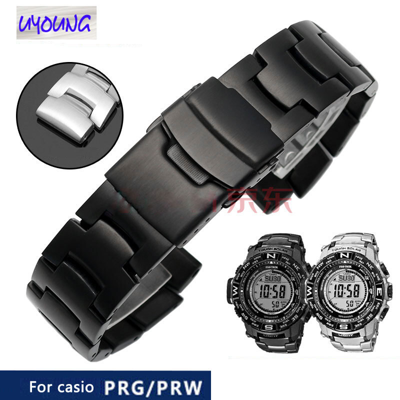 Watch Belt Replacement For Cso PRG-260/550/250/500 PRW-3500/2500/5100 Steel Bracelet Black 18mm Watch Band Gift  For Bf