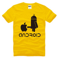 Creative Android Robot Spoof Funny Printed Men S T Shirt T Shirt For Men 2016 New