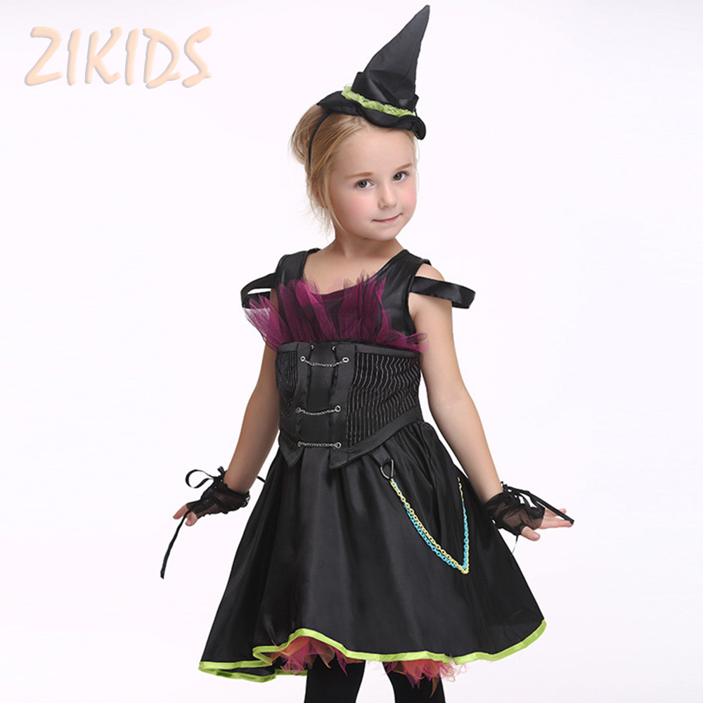 Halloween Role-play Costume For Girls Masquerade Animation Clothing Sets Kids Carnival Party Dresses (Dress+Hat+Gloves) role play утюг smoby