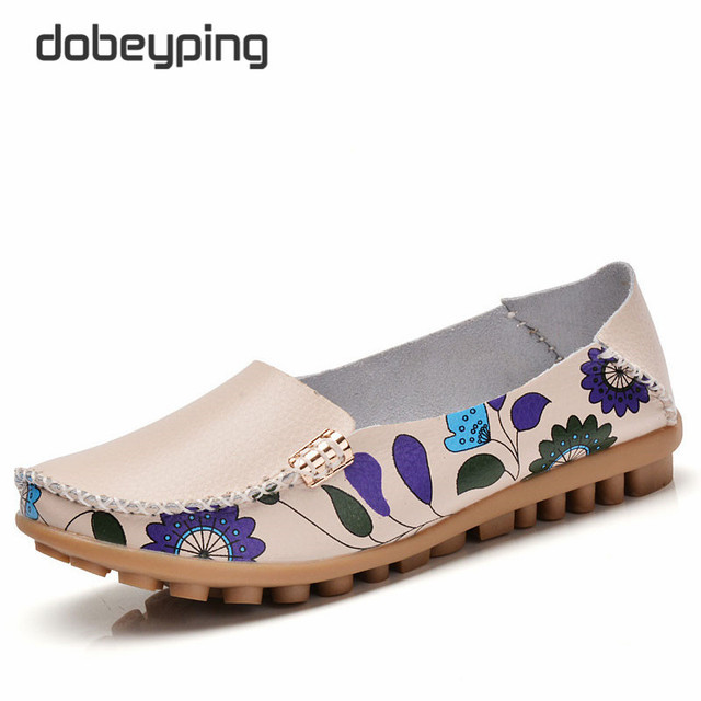 Cow Muscle Women Casual Shoes Flower Print Genuine Leather Femal Flats Flexible Woman Loafers New Soft Mother Leisure Boat Shoe