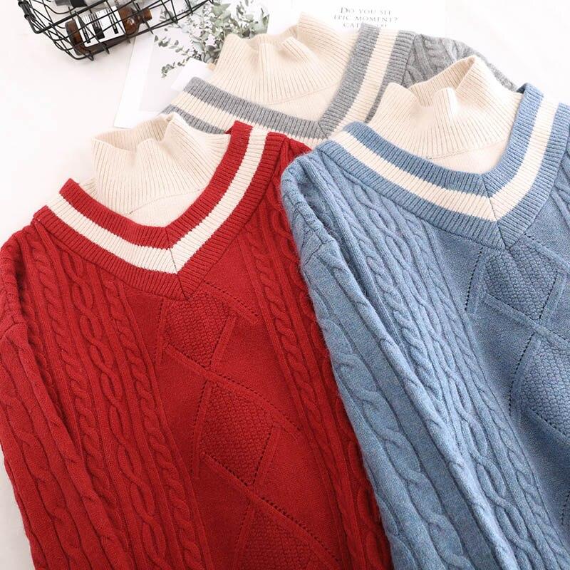 Cotone Rosso Coreano Modo Qualità Casual rosso Donne grigio Autunno A Maglia Blu Solido Inverno Maglione Dolcevita 2018 In Delle Di Righe Pullover Vestiti Alta roQWxedCBE