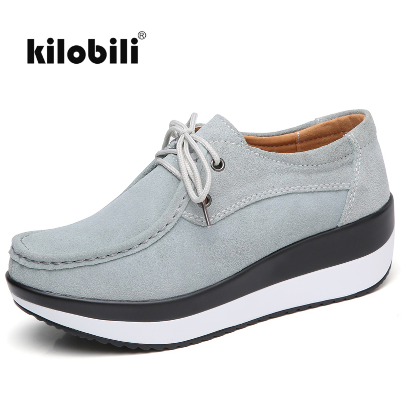 kilobili 2018 Spring Women Flats Platform Shoes   Suede     Leather   Lace up Women moccasins Loafers Casual shoes Comfortable Creepers