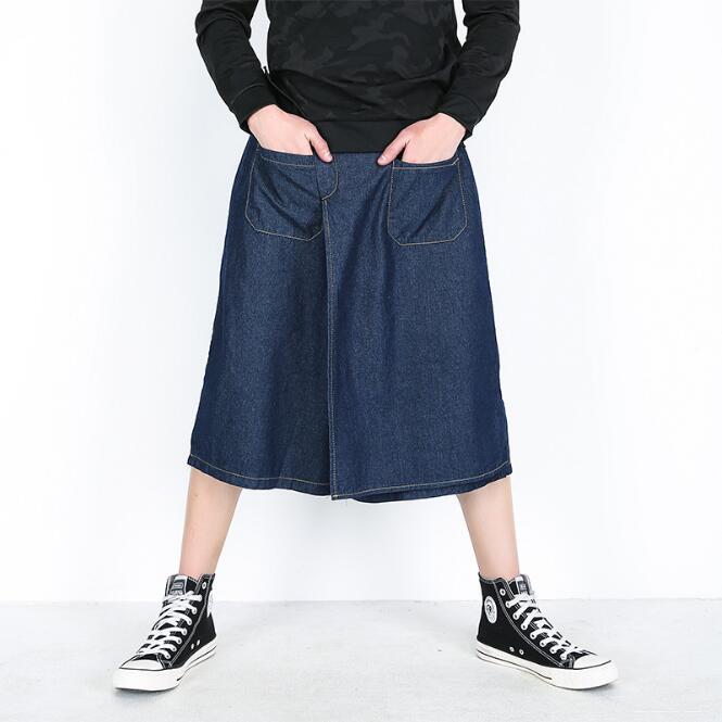 2018 hommes mode personnalité faux deux harem pantalon discothèque jeune jeans lâche avec jambes larges