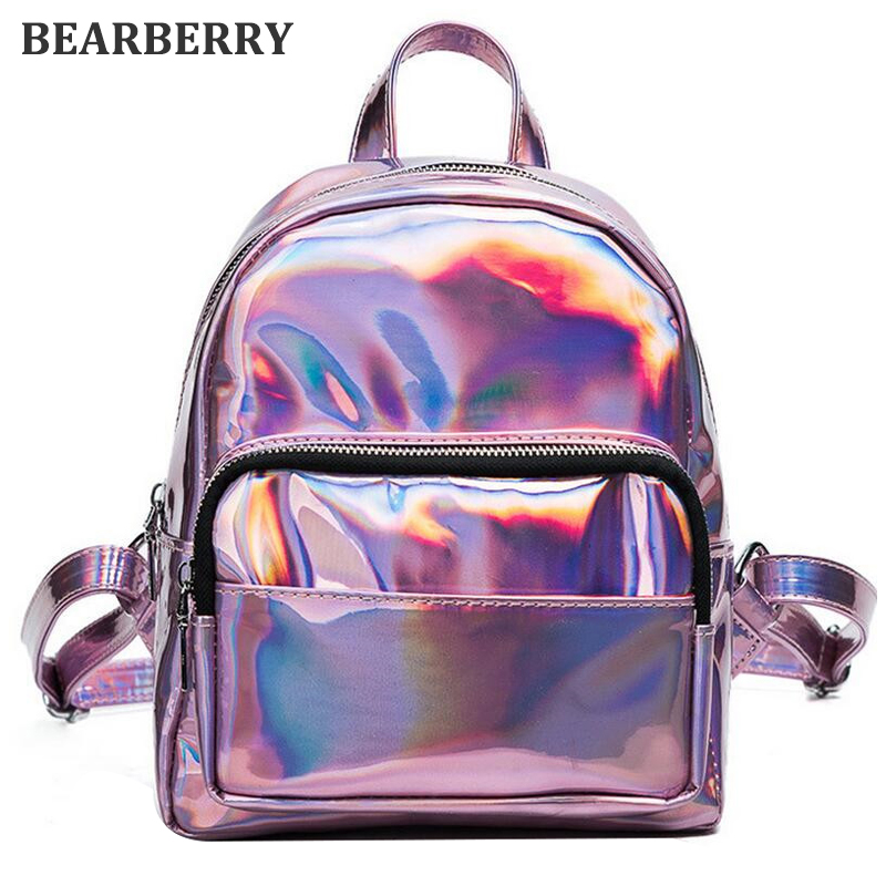 BEARBERRY 2017 New women hologram backpack laser daypacks female silver pu leather holographic bags big girl