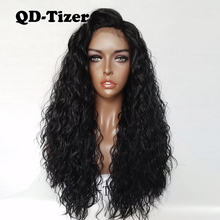 Hot Sell Long Black Loose Curly Hair Free Part Lace Front Wig