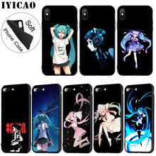 IYICAO Anime Meisje Hatsune Miku Zachte Siliconen Telefoon Case voor iPhone XR X XS 11 Pro Max 6 6S 7 8 Plus 5 5S SE TPU Zwarte Cover(China)