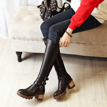 Retro Pointed Belt Buckle High Heeled Winter Knight Motorcycle Boots White Black Brown Discount Womens Dress