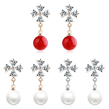QIYIGE red beads Acacia bean Stud earrings for women