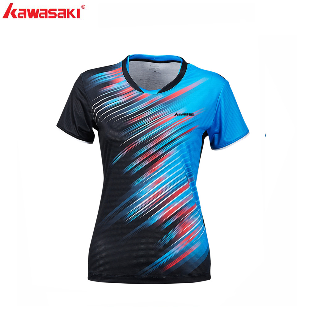 2019 Kawasaki Badminton Sportswear T-Shirts For Women O-Neck Breathable Blue Color Badminton Sport T-shirt ST-S2128