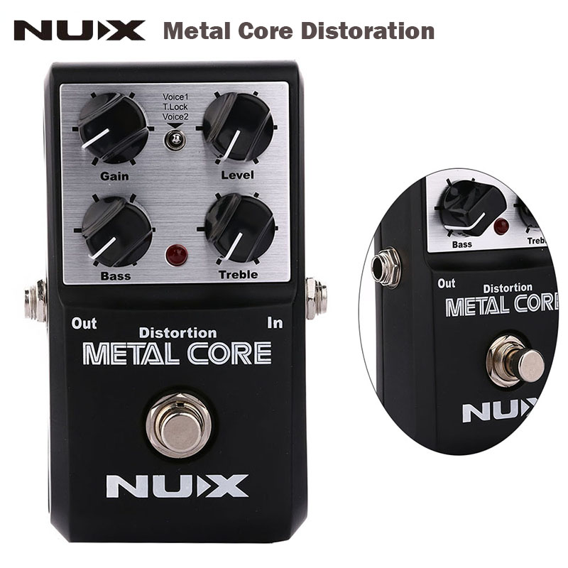 NUX metal core Guitar distortion effect Pedal True Bypass 2-Band EQ Tone Lock Function Guitar parts&Accessories mooer ensemble queen bass chorus effect pedal mini guitar effects true bypass with free connector and footswitch topper