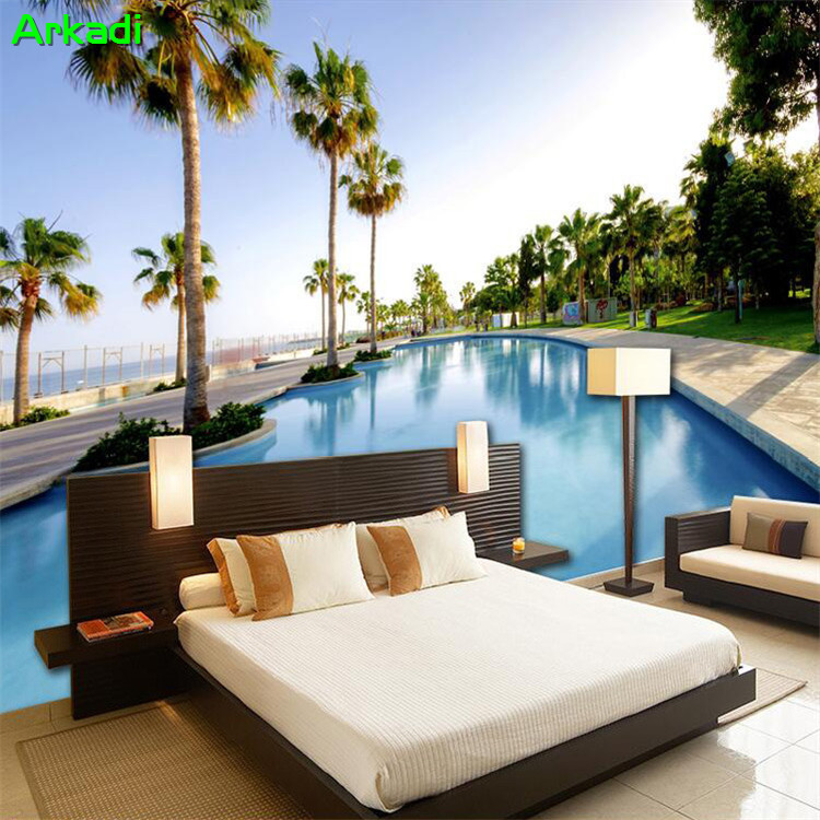 Beach Seaview Decoration TV Background Mural 3D Living Room Wallpaper Maldives Resort Swimming Pool