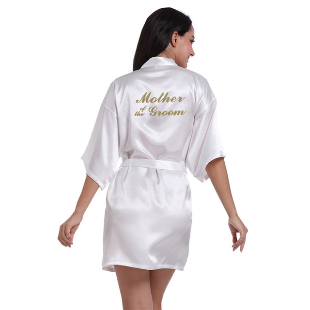 26afc75cbf White Women Bathrobe Mother of the Groom Letter Golden robe Get Ready Robes  Bridal Party Gifts Dressing Gowns