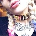 Harley quinn comando suicida puddin choker collar choker cuero negro punky de la joyería #92075