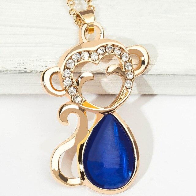 5 màu Xanh màu Hồng Màu Xanh Lá Cây Nhỏ Giọt Opal Đá Cơ Thể Hollow Pha Lê Mặt Đáng Yêu Dangle Khỉ Mặt Dây Chuyền Vàng Vòng Cổ cho Phụ Nữ