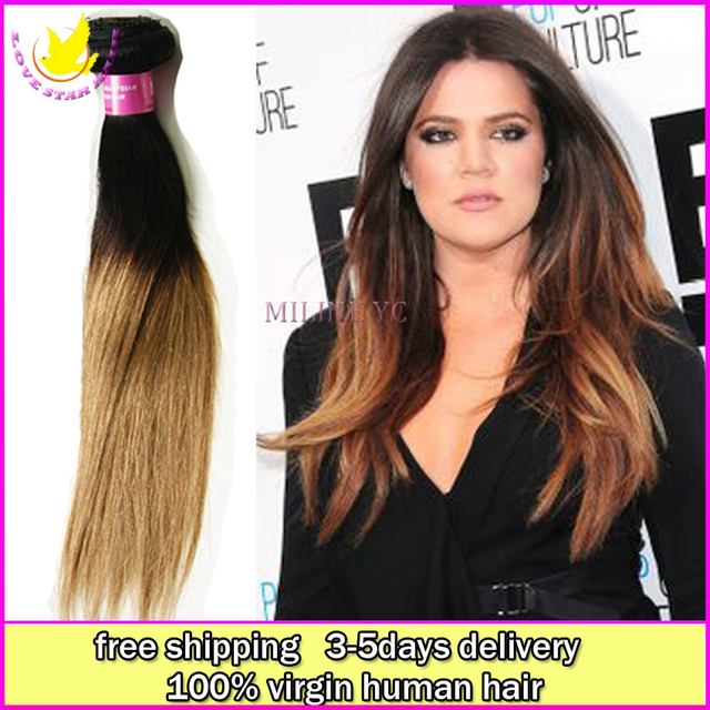 Wholesale100 Bulk Virgin Human Indian Remi Goddess Ombre Straight