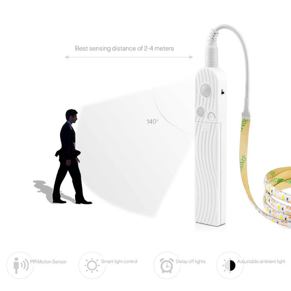 Smart Turn Op Off Pir Motion Sensor & Usb-poort Led Strip Licht Flexiable Lijm Lamp Tape Voor Closet Trappen keukenkast