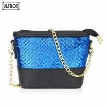 hot deal buy ultron women messenger bags patchwork sequined hit color shoulder bag luxury handbags women bags designer crossbody bags bucket