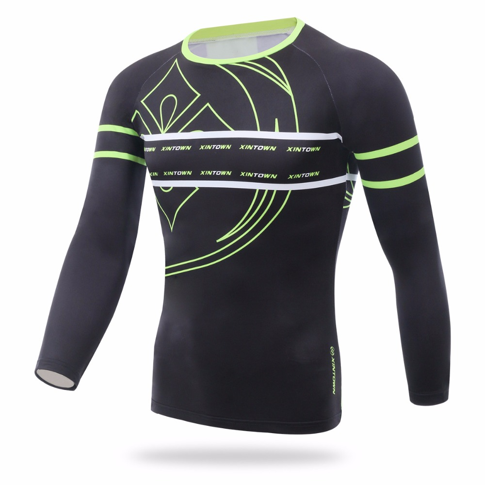 XINTOWN Winter Thermal Fleece Round Neck Mens Bike Bicycle Riding Running Jersey Cycling Long Sleeve T-Shirt