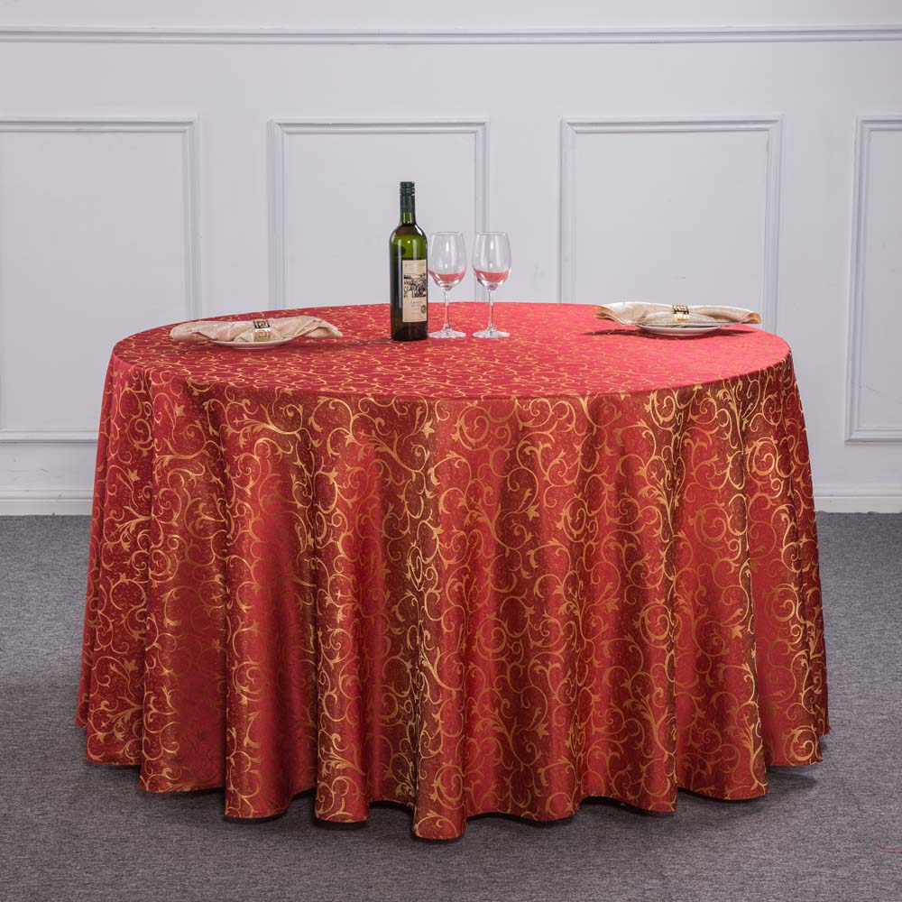 New Luxury Crocheted Gold Leaf Red Round Table Cloth For Hotel Restaurant  Decor Rectangle Washable Tablecloth