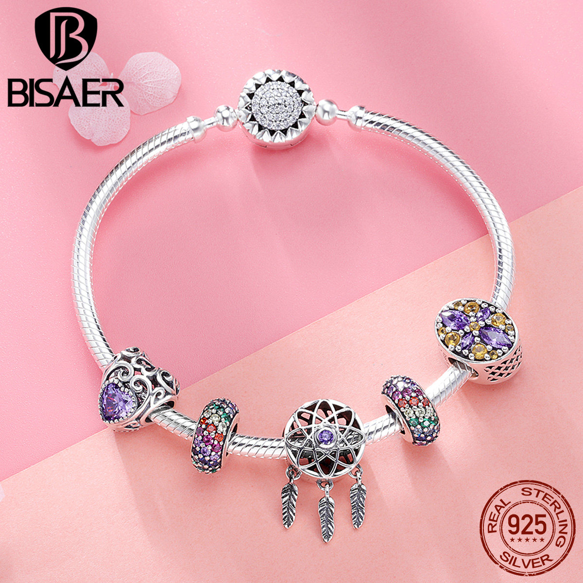 BISAER 6Pcs 925 Sterling Silver Dream Catcher Tassels Bohemia Style Original Brand Charm Bracelet For Women Wedding Gift GXB809