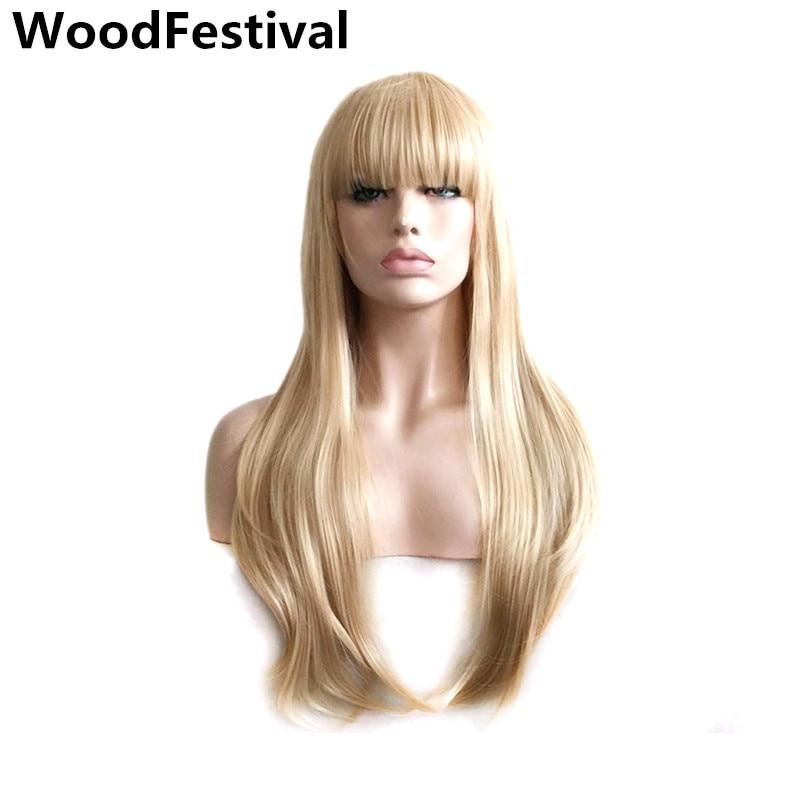 Delle signore del partito parrucche parrucca bionda capelli lisci  termoresistente lunga parrucca bionda con frangetta parrucche 60d0f69026a3